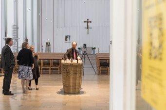 Ausstellung Hermann J Kassel in St. Erpho, Münster, Fotos der Vernissage mit Prof. Thomas Sternberg. Fotos: A. Hasenkamp.