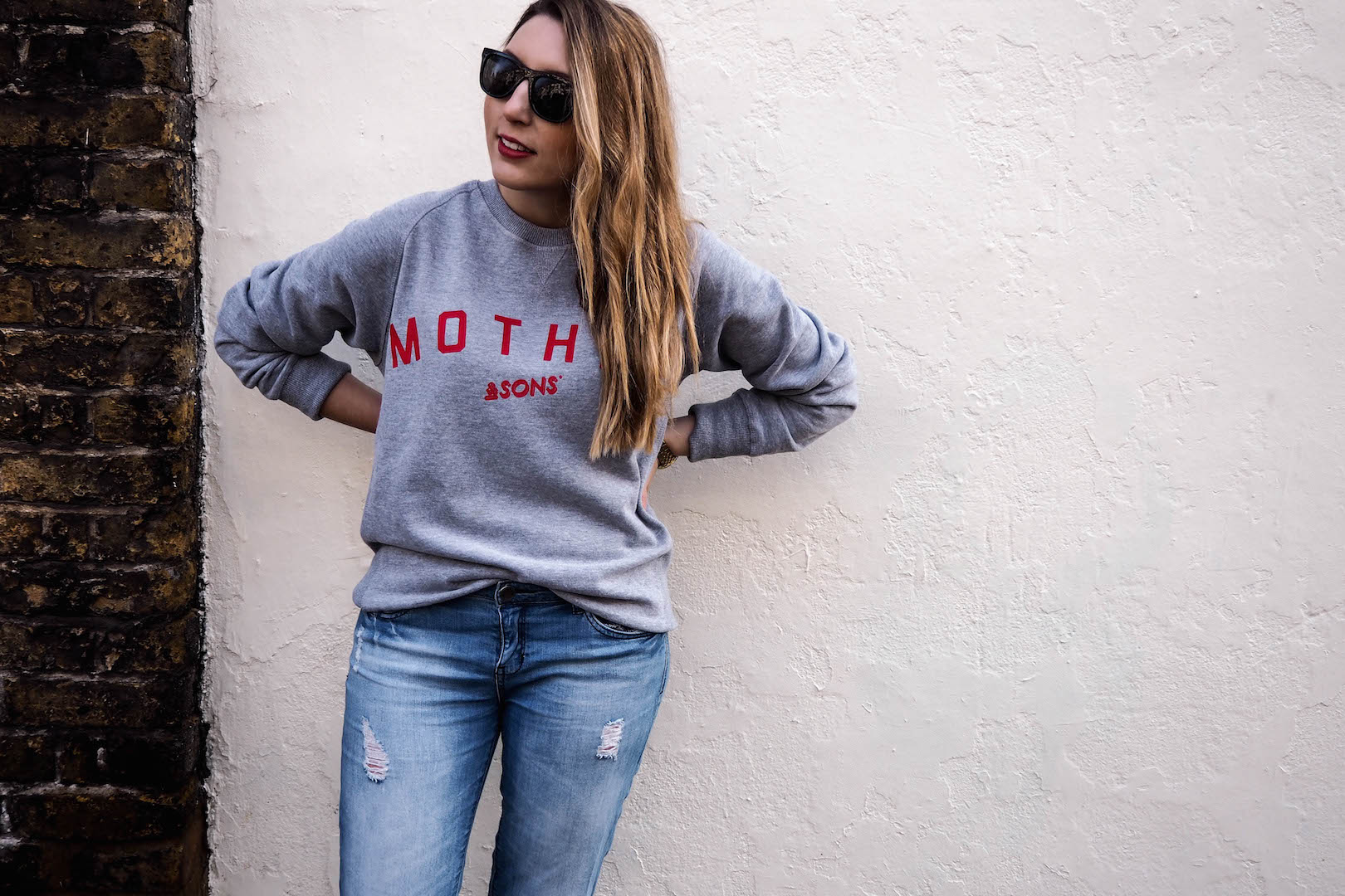 &Sons mother sweatshirt | Forever 21 jeans | Dune flats | Knomo Bag | Wolf & Stag