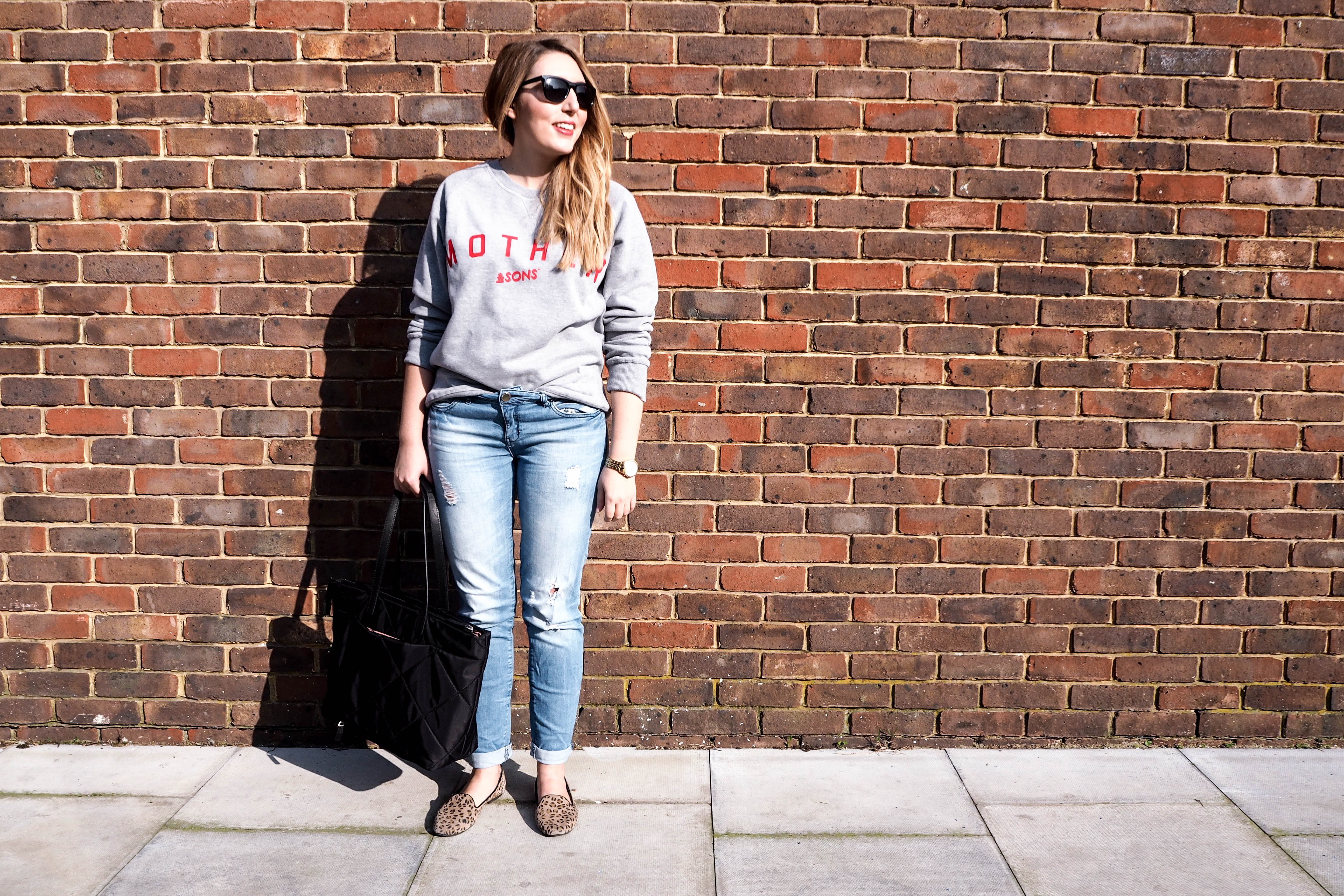 &Sons sweatshirt | Forever 21 jeans | Dune flats | Knomo Bag | Wolf & Stag
