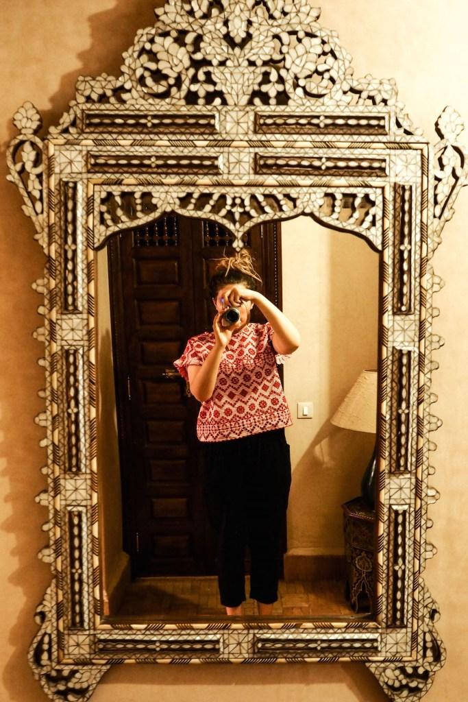 Eire Pollard taking a 'mirror selfie' at the Riad Kniza, Marrakech