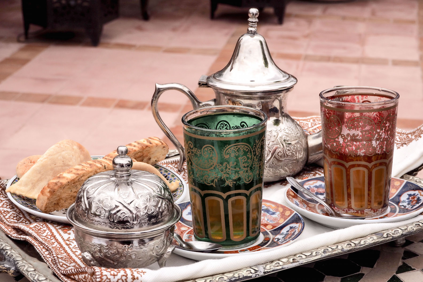 Traditional Moroccan tea and biscuits at the Riad Kniza, Marrakech