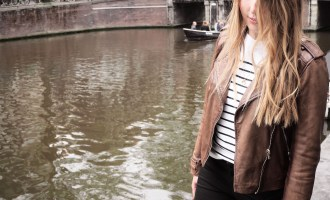 What I Wore in Amsterdam, Day 3: Uniqlo breton top, Massimo Dutti brown leather jacket, J Brand black skinny jeans, Adidas white sneakers, basket bag   Wolf & Stag