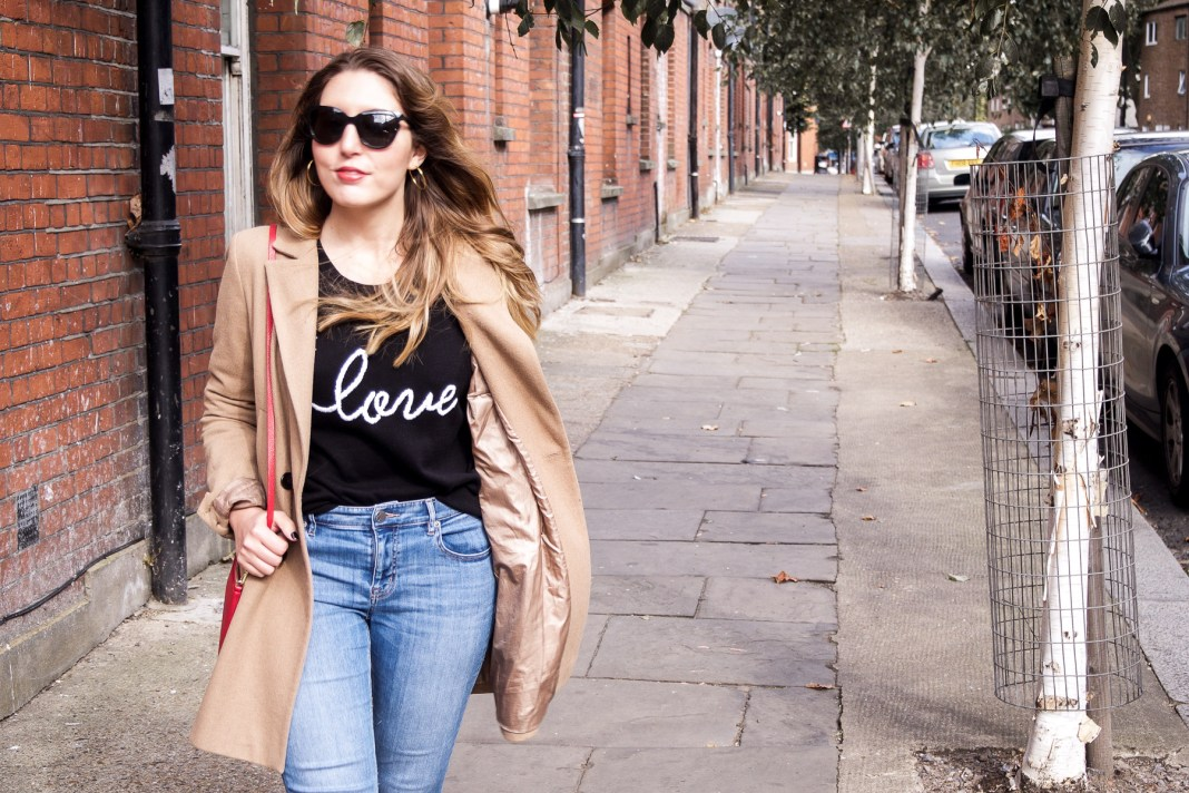 Autumn fashion: Hush love jumper, Lou & Grey jeans, ASOS camel coat, Dune loafers, Neubau Eyewear sunglasses, Aurora London bag   Wolf & Stag