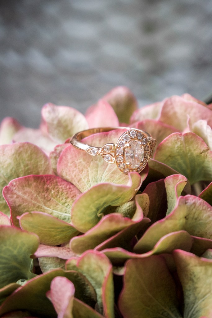 Rose-gold engagement ring with halo diamonds and leaf shoulders Life Update: Engaged, Thirty, Move | How NOT to do huge life events in 1 month | Wolf & Stag