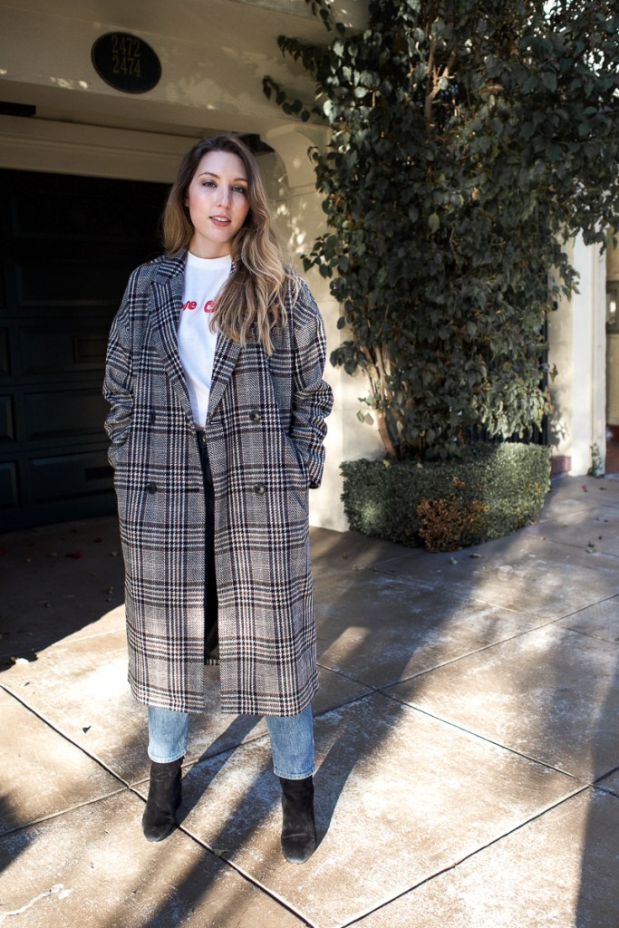 My Favourite Coat for Not-So-Cold Days   Featuring Madewell long checked coat, Ganni logo tee, Frame straight jeans and Sam Edelman black suede boots   Wolf & Stag