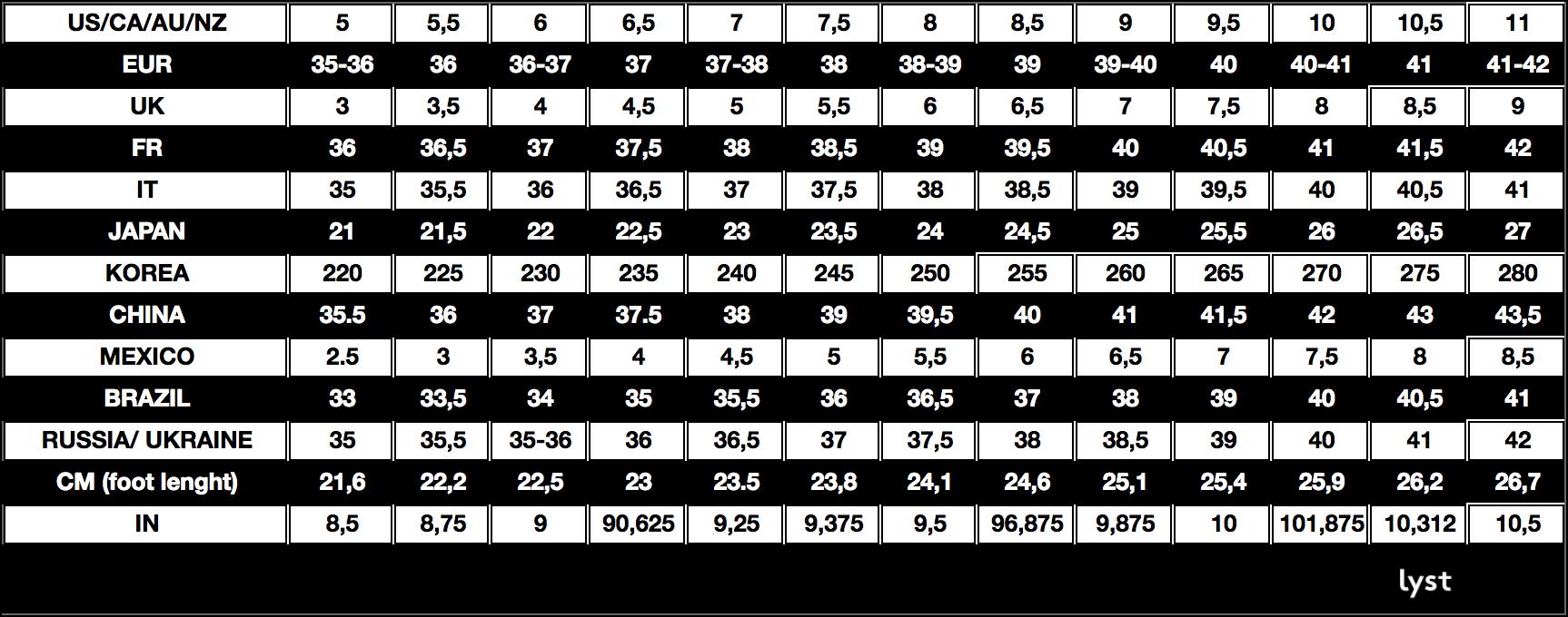 Lyst Shoe Size Conversion Chart