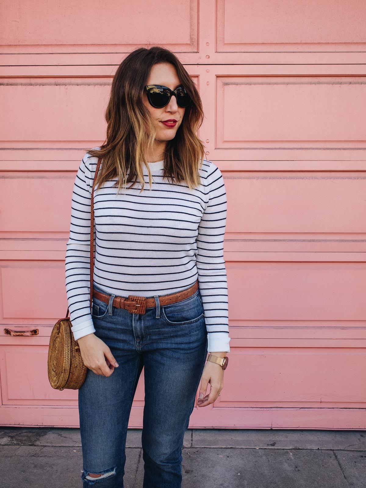 Dressing for Paris in San Francisco | Featuring a Club Monaco striped top, Frame cropped jeans, a vintage brown belt, black J Crew flats, Wood/Grey basket bag, Neubau black sunglasses | Wolf & Stag