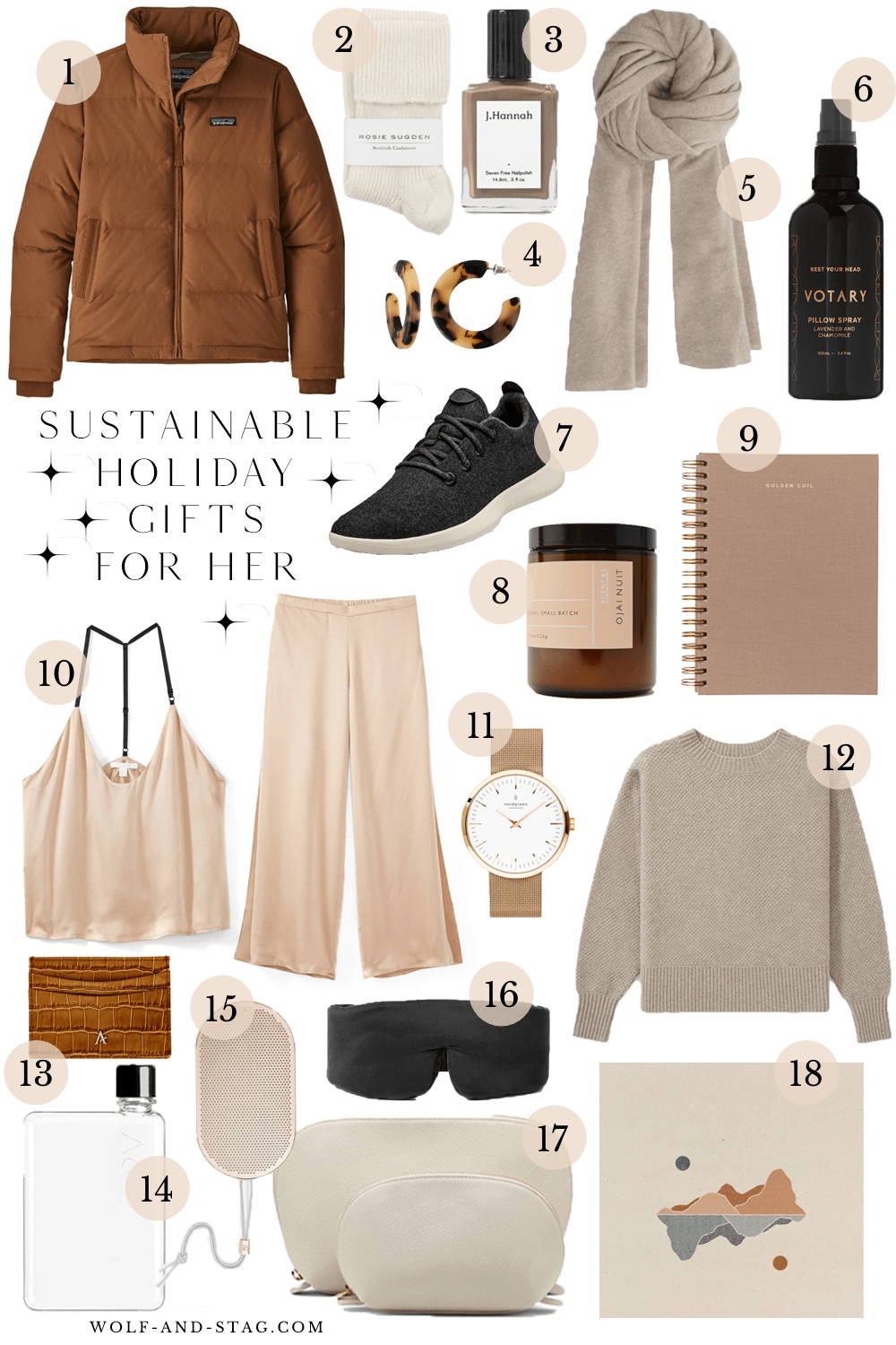 A roundup of the most sustainable, ethical, or eco-friendly holiday gifts for her, in a neutral color palette