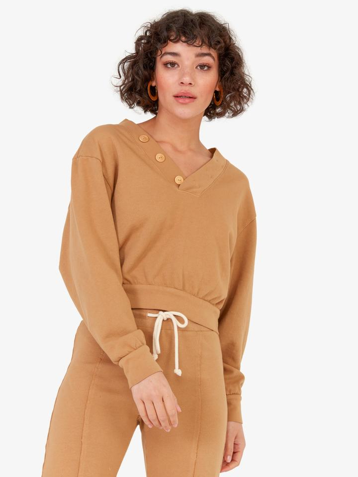 Mate the Label Dylan Sweater and Kayden Crop Flare Pants in Pecan