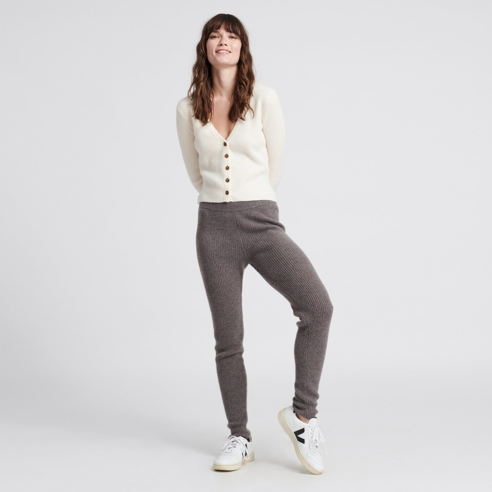 NADAAM Cashmere Lounge Pants in Heathered Grey & Cashmere Ribbed Cardigan in White