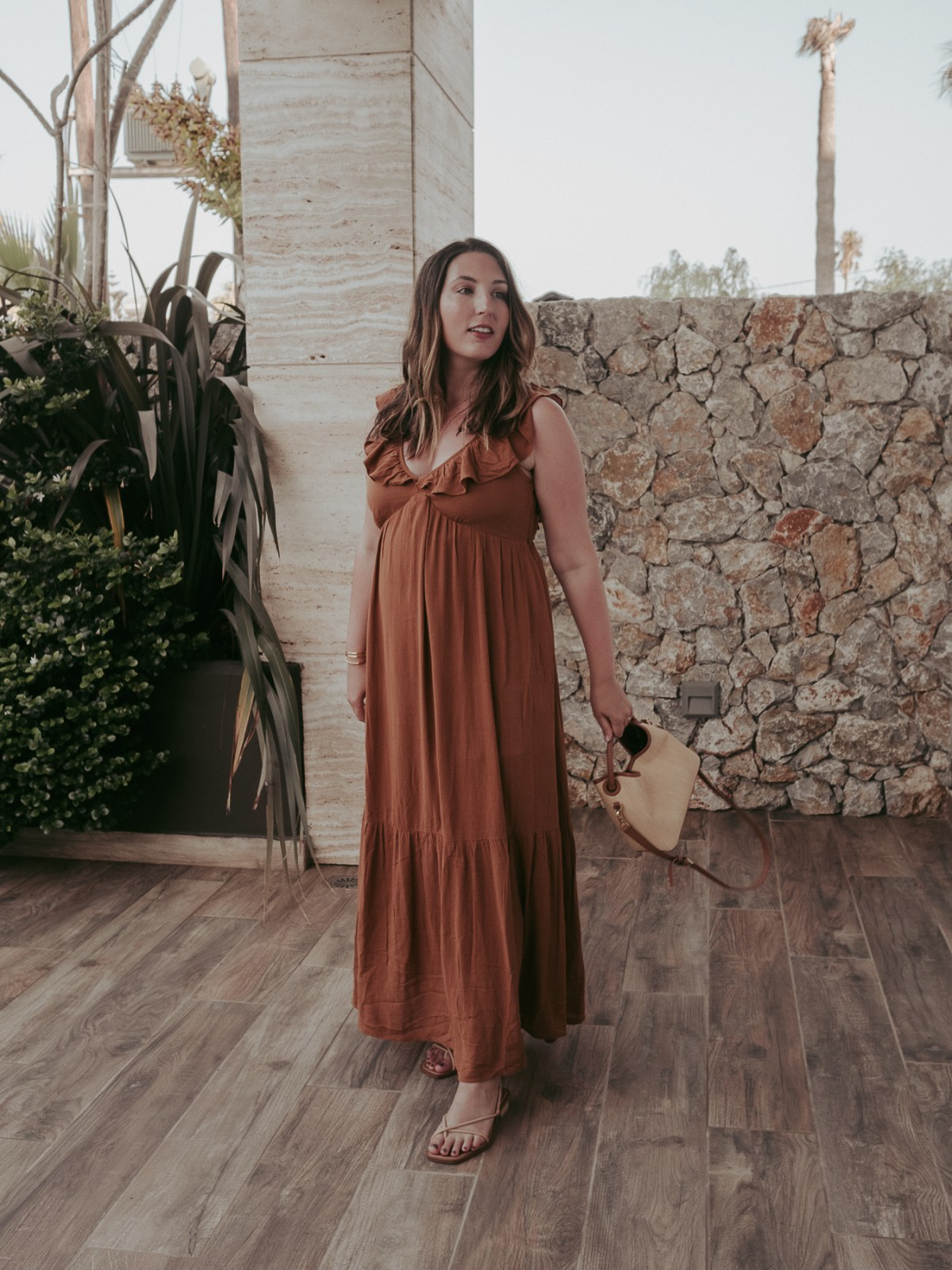 My Pregnancy Capsule Wardrobe   featuring Warehouse golden floaty maxi dress, Elleme straw and leather bag   summer outfit in Greece   W&S