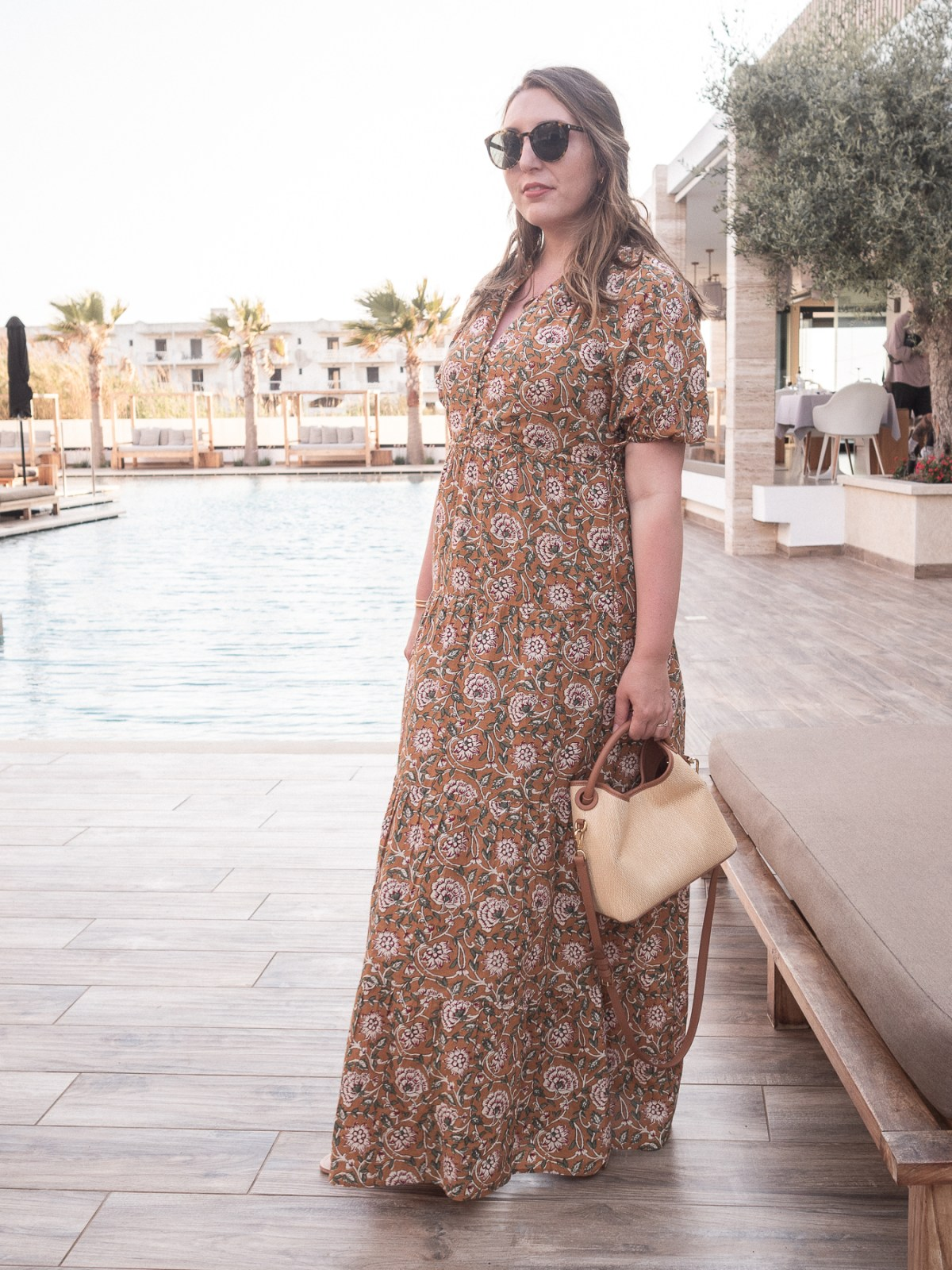 My Pregnancy Capsule Wardrobe   featuring a floaty yellow printed cotton maxi dress by Sezane, Elleme Baozi straw and leather bag   Summer pregnancy outfit   W&S