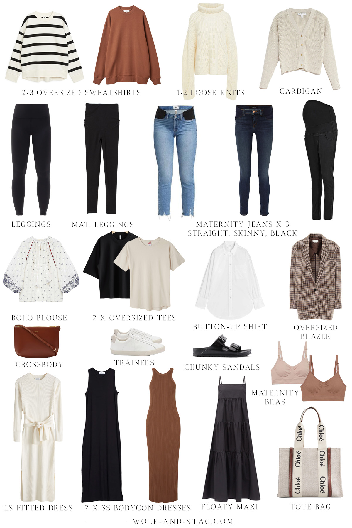 A mostly sustainable, neutral, mid-season pregnancy capsule wardrobe, featuring mostly all non-maternity clothing items, in shades of warm brown, black, and neutral   W&S