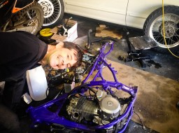 Getting ready to remove the engine from the purple frame