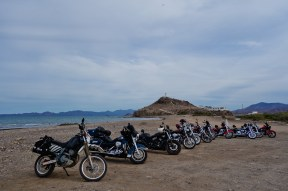 The Zebramobile made some friends with a pack of Harley's on the beach