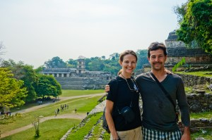 Trying not to melt in the heat at the Palenque ruins