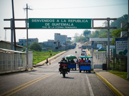 Entering Guatemala at the El Ceibo border