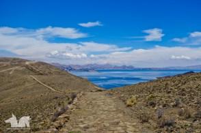 The Inca trail traversing the island