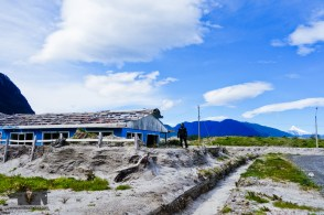 On of the many houses buried in ash and mud in the 2008 activity of the Chaiten Volcano
