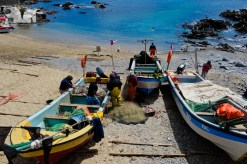 Fisherman's boats outside Restorán Pezcadores in Quintay