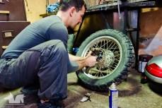 Working on the Wolfmobile's wheel bearings