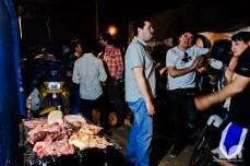 Lots of meat on the BBQ at Johnny Motos birthday
