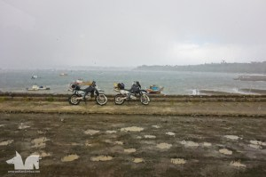 The bikes getting washed down in a sudden shower on Chiloe Island