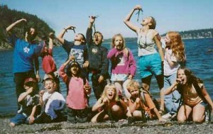 Group of day campers doing the seaweed challenge on Lummi Island.
