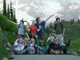 Wolf College Mentors Leading Younger Campers on Mt Rainier