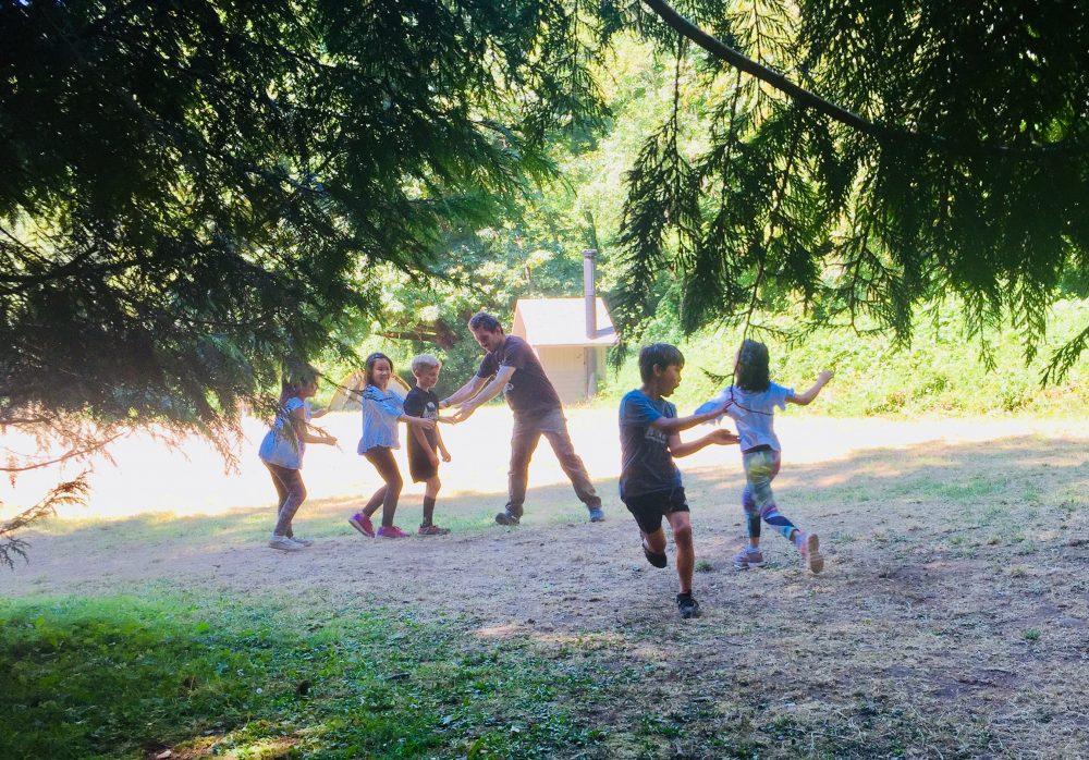 Jordan playing with kids