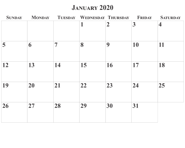 January 2020 Full Page Calendar Template