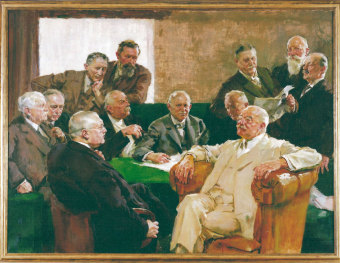 "The managing board of I.G. Farben AG, called the ""Council of the Gods"" by employees, painting by Hermann Gröber. At front left in the picture is Carl Bosch, at front right is Carl Duisberg'© HistoCom GmbH"