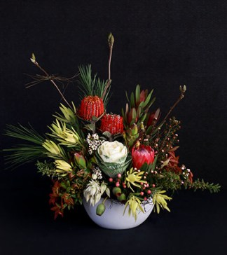 This modern native pot arrangement is lush with traditional Australian bush natives and warm tones, incorporating striking features and textures.