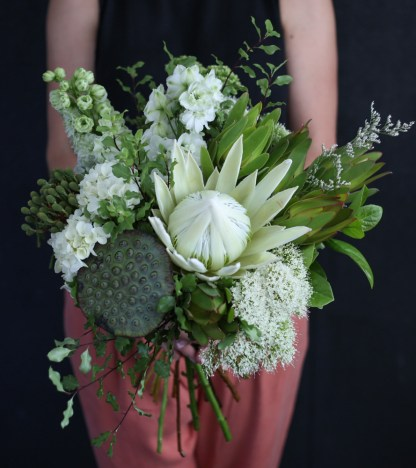 Neutral and elegant bouquet of mixed seasonal native blooms. A perfect choice for when you need to send your condolences.