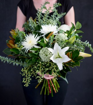 A beautiful bunch of seasonal flowers in whites and greens. The ideal gift for the arrival of a new baby or to simply say 'Thanks'!