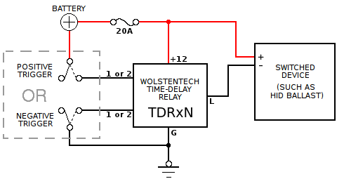 time delay relay circuit diagram derbi drd 50 wiring automotive installation instructions basic for