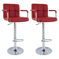 Faux Leather Bar Stools set of 2 Kitchen Breakfast Bar