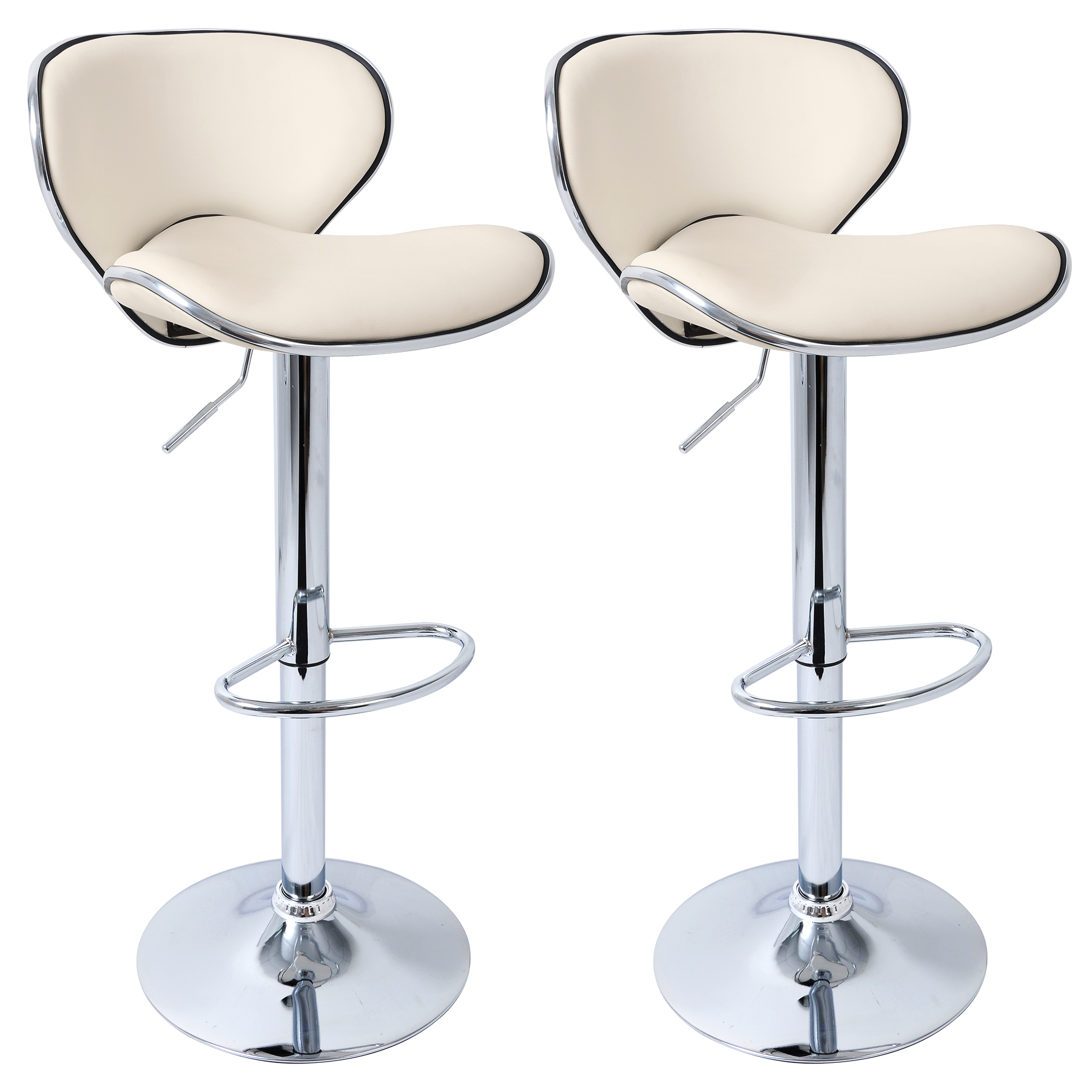 2 x Bar Stools Kitchen Chair Swivel Breakfast Stool Chrome
