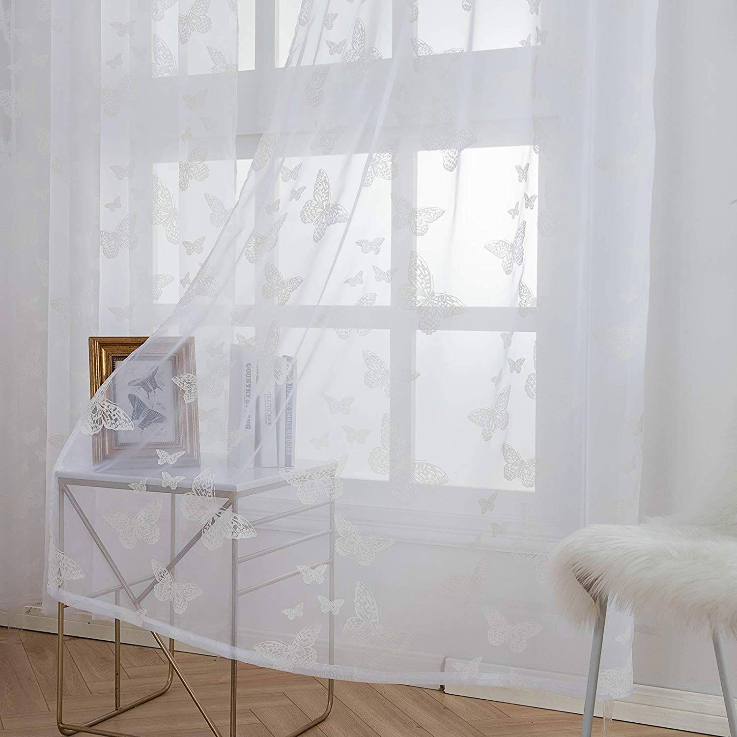 sheer voile curtains eyelet ring top butterfly semi transparent curtain panels 2 panels white