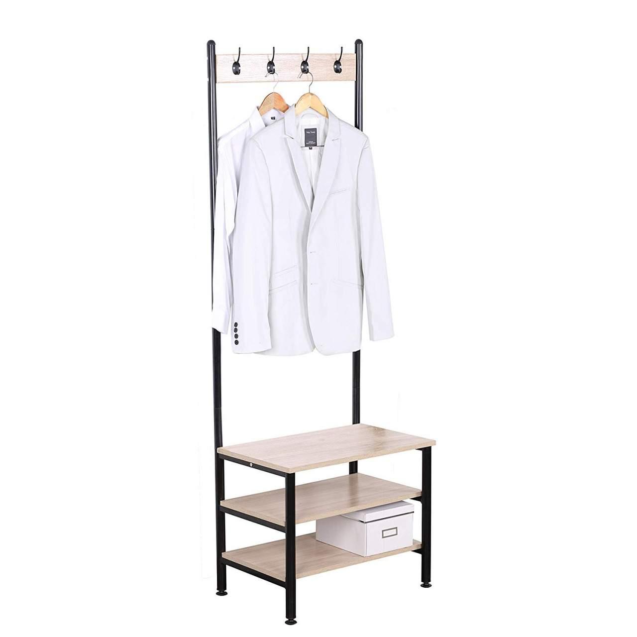 coat rack 4 hanging hooks with 3 tier wooden shoe rack storage organizer