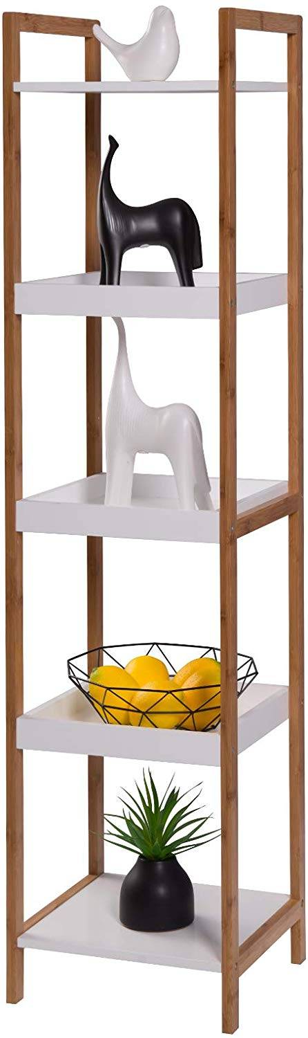 standing shelf with wooden trays 4 tiers bamboo frame storage shelves for living room bathroom