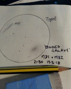 Richard's sketch of Bodes Galaxy (M81) and M82