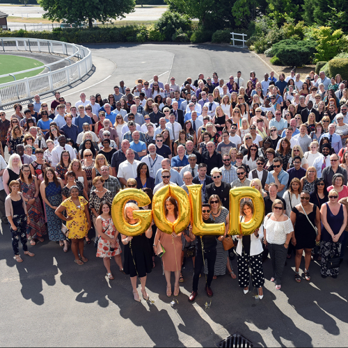 Photo of Staff Celebrating Gold IIP Award