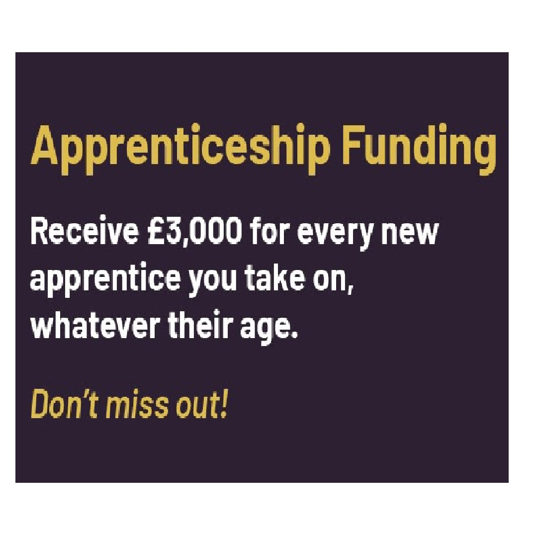 Image about apprenticeship funding of £3000 for taking on a new apprentice