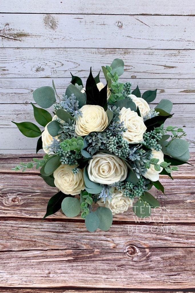 wooden wedding flowers