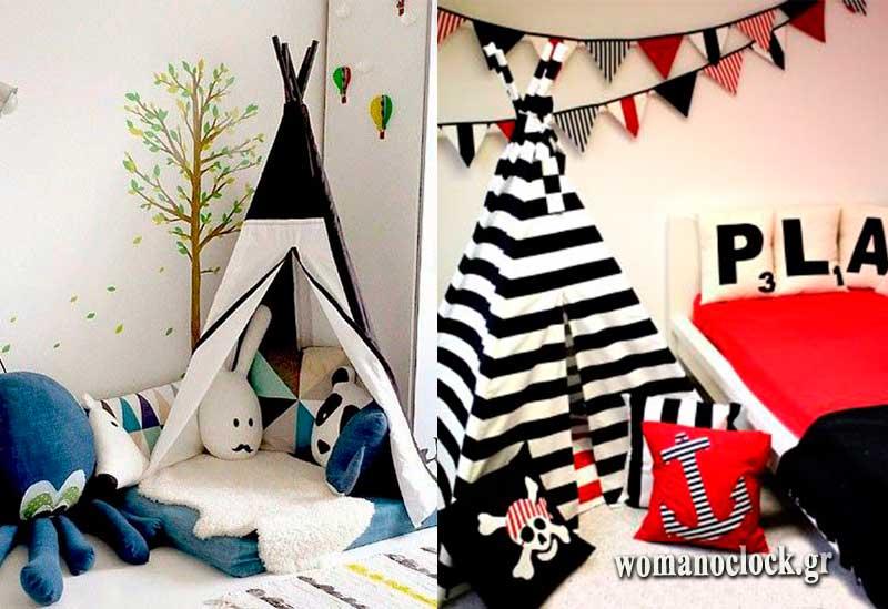 Σκηνές στο παιδικό δωμάτιο για τους μικρούς πριγκιπες