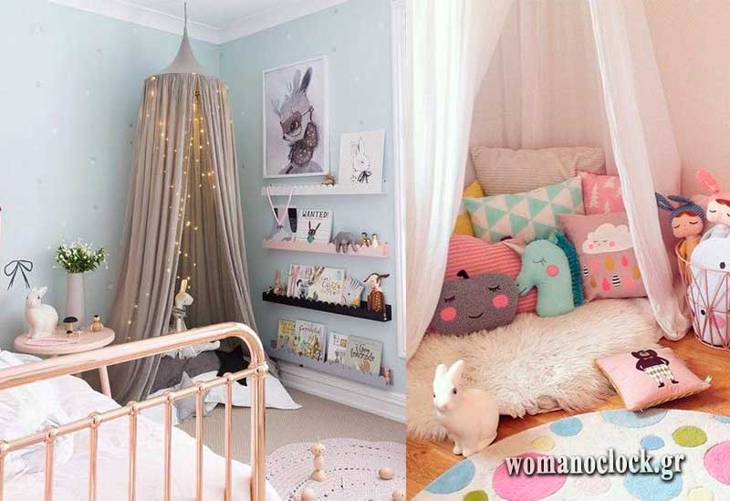 Σκηνές στο κοριτσίστικο παιδικό δωμάτιο