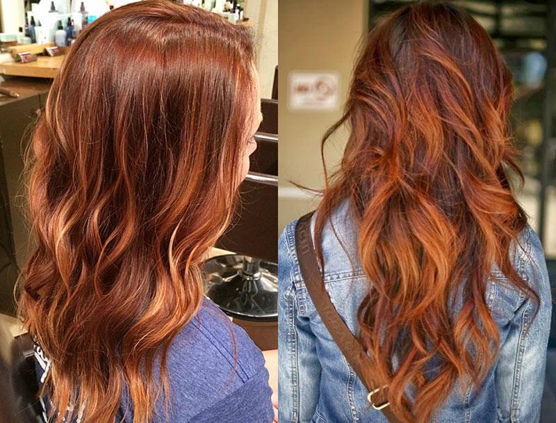 κόκκινα μαλλιά-balayage-highlights
