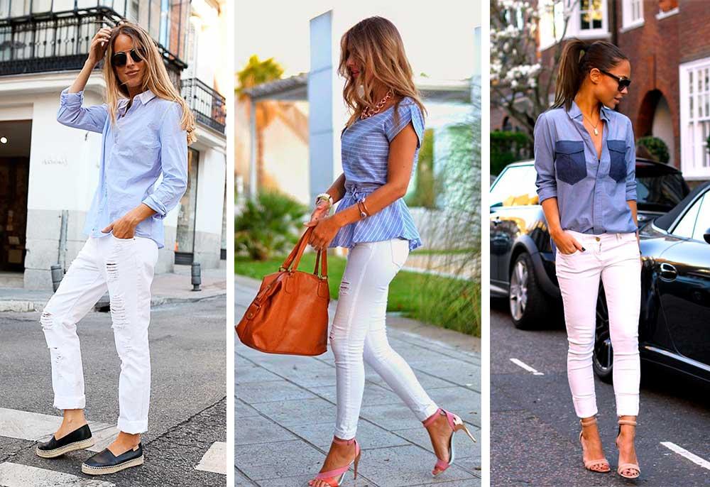 Άσπρο παντελόνι με γαλάζιο
