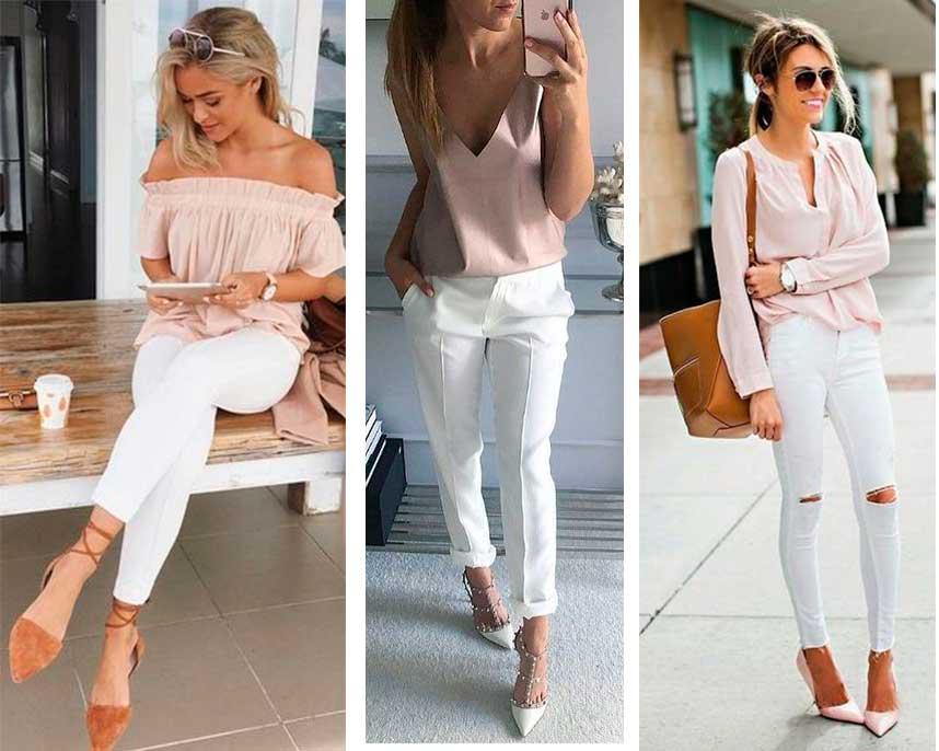 Λευκό παντελόνι με nude